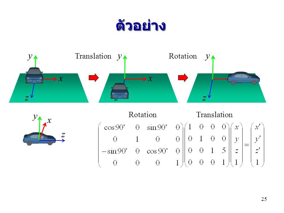 ตัวอย่าง y y y x x x z z z y x z Translation Rotation Rotation