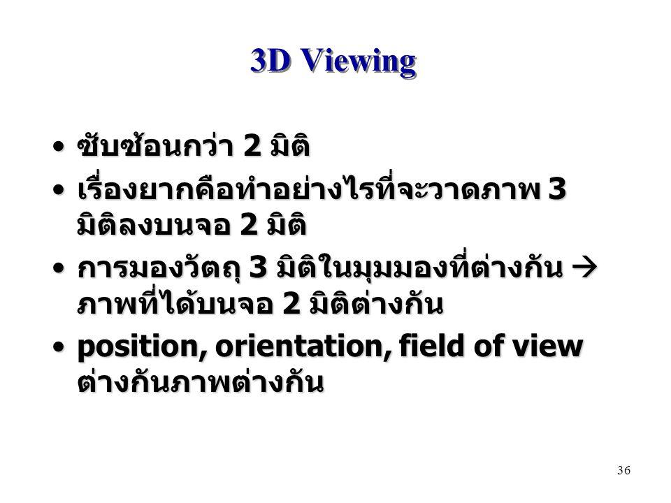 3D Viewing ซับซ้อนกว่า 2 มิติ