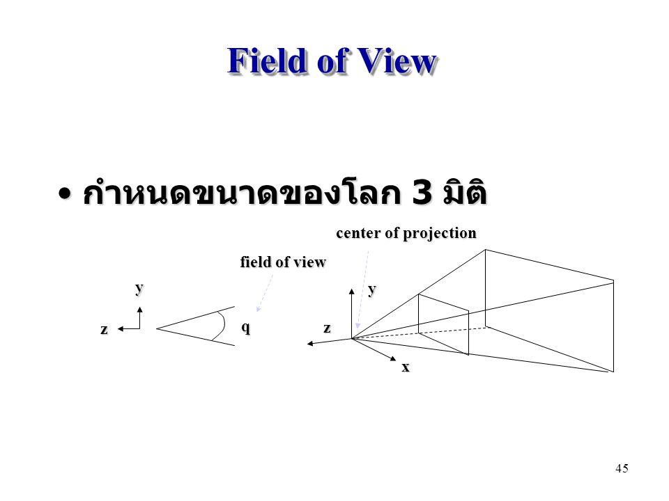 Field of View กำหนดขนาดของโลก 3 มิติ center of projection