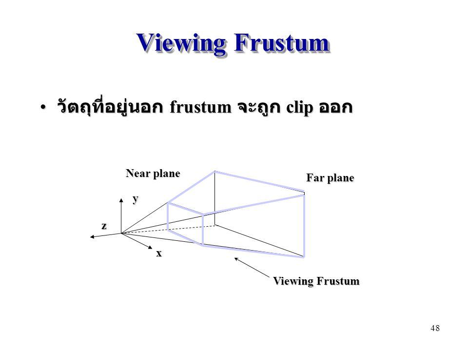 Viewing Frustum วัตถุที่อยู่นอก frustum จะถูก clip ออก Near plane