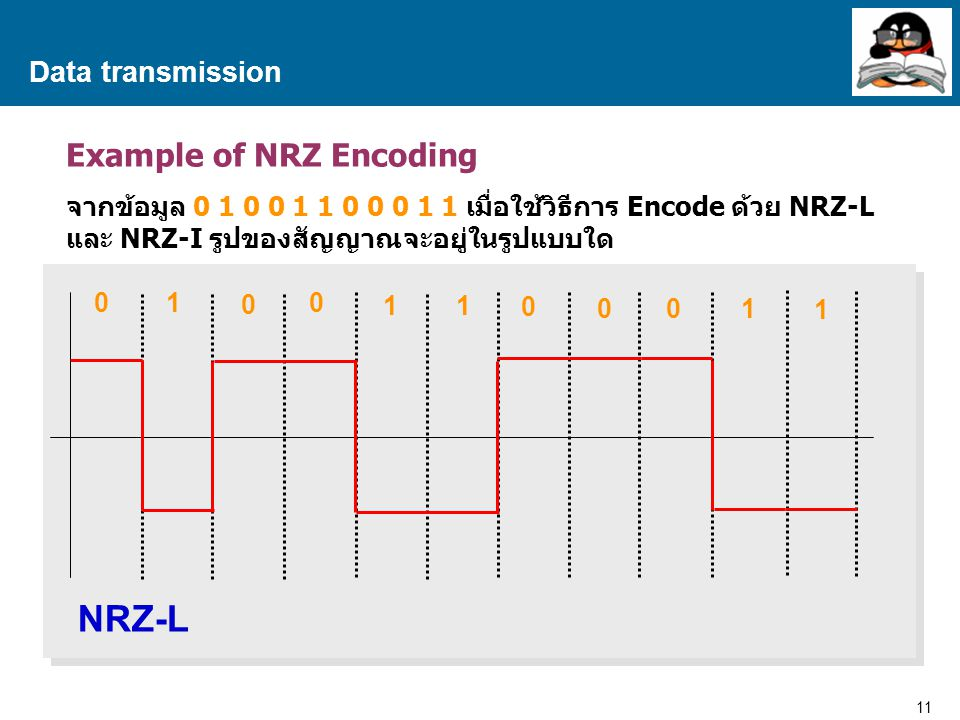 NRZ-L Example of NRZ Encoding Data transmission