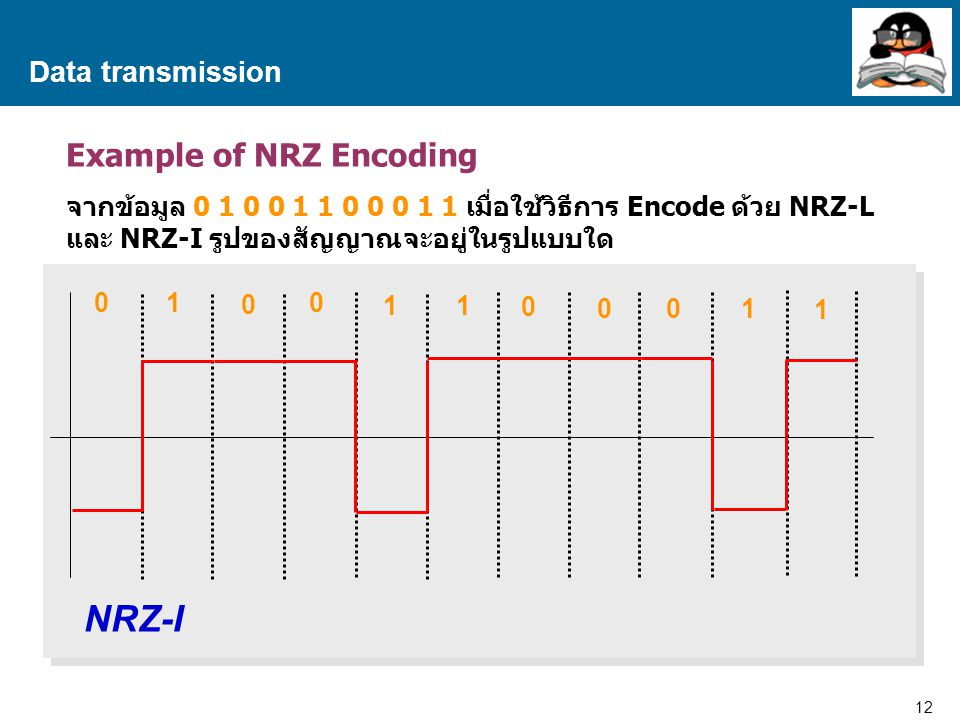 NRZ-I Example of NRZ Encoding Data transmission