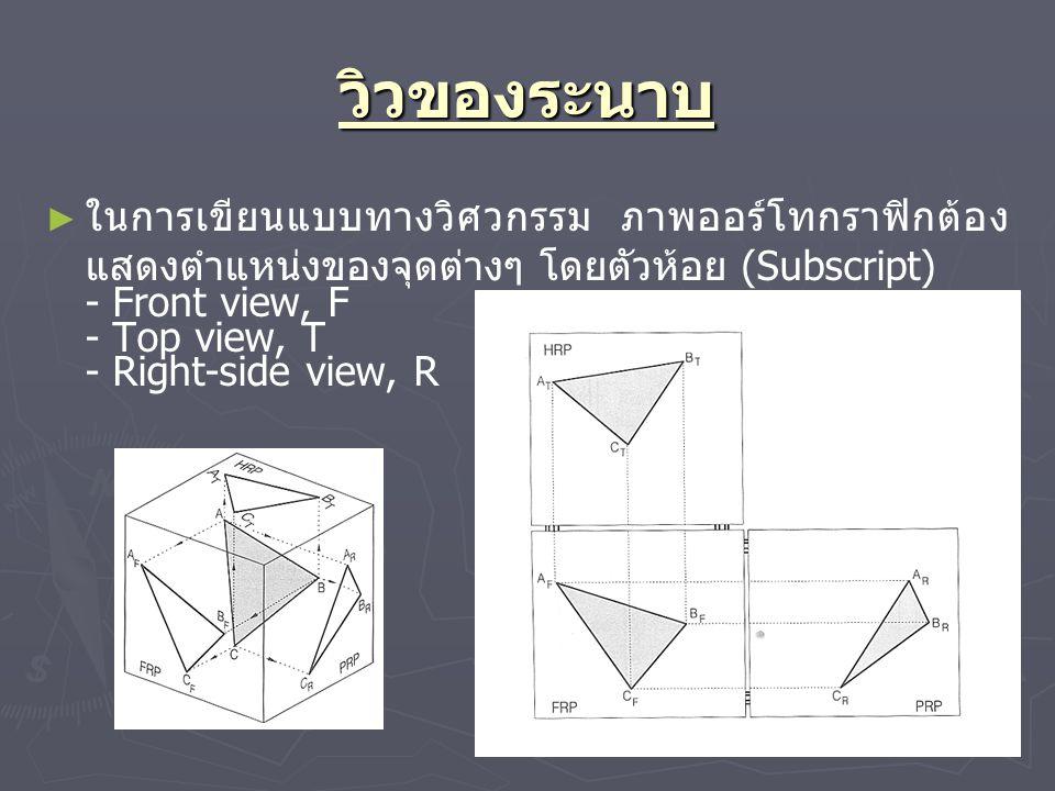 วิวของระนาบ ในการเขียนแบบทางวิศวกรรม ภาพออร์โทกราฟิกต้องแสดงตำแหน่งของจุดต่างๆ โดยตัวห้อย (Subscript)