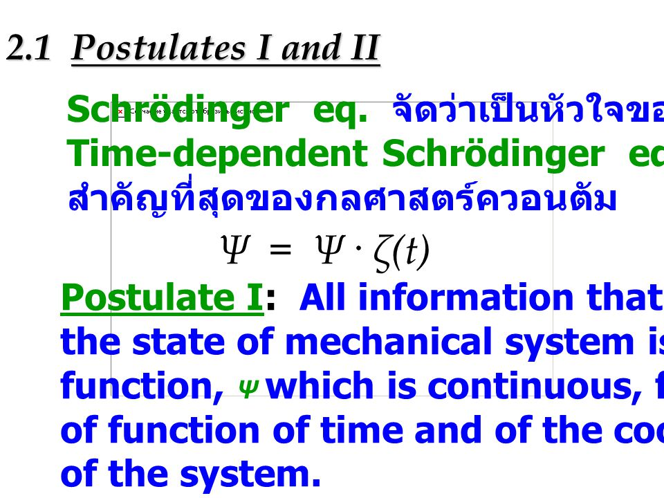 Ψ = Ψ ζ(t) 2.1 Postulates I and II