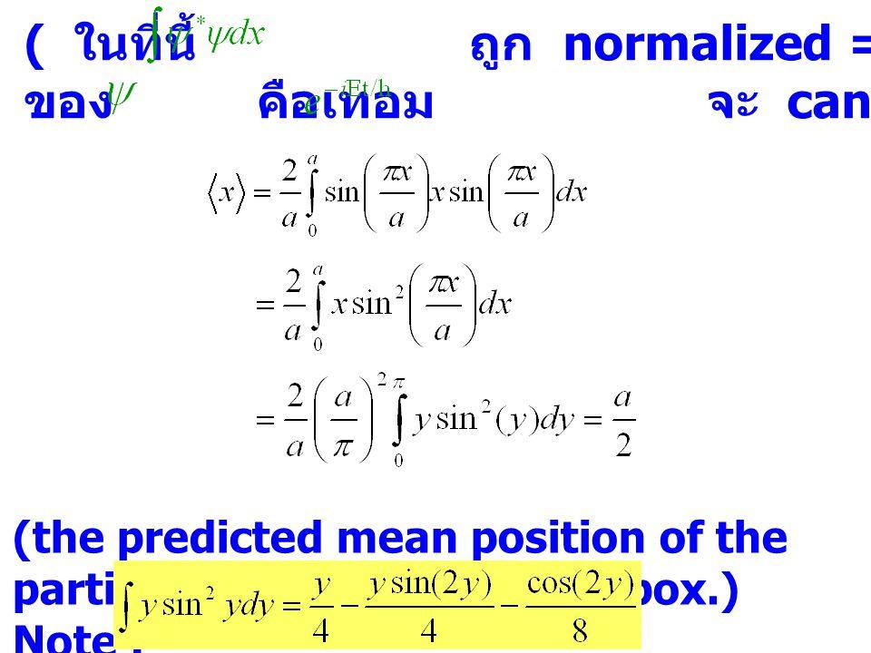 ( ในที่นี้ ถูก normalized = 1 และ conjugate complex