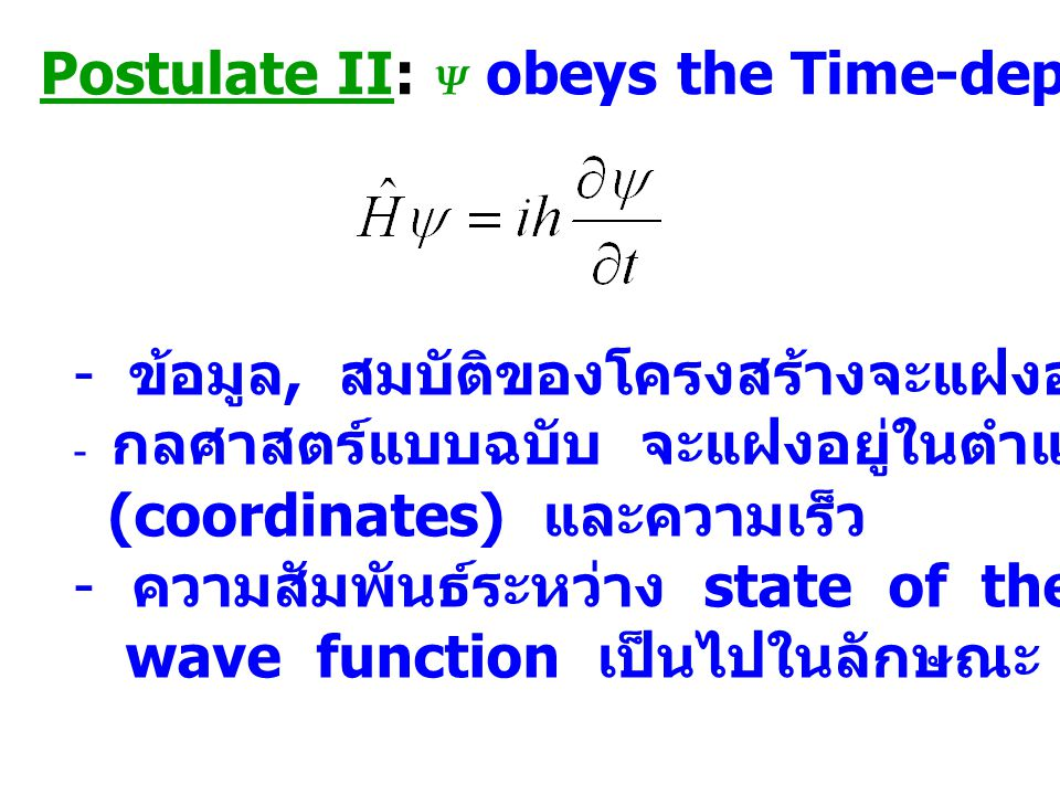 Postulate II: Ψ obeys the Time-dependent Schrödinger eq.