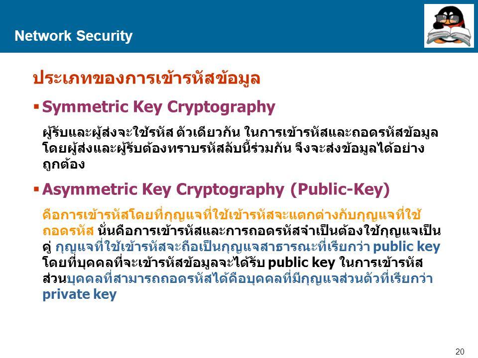 ประเภทของการเข้ารหัสข้อมูล