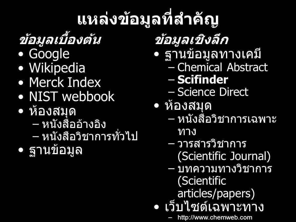 แหล่งข้อมูลที่สำคัญ ข้อมูลเบื้องต้น Google Wikipedia Merck Index