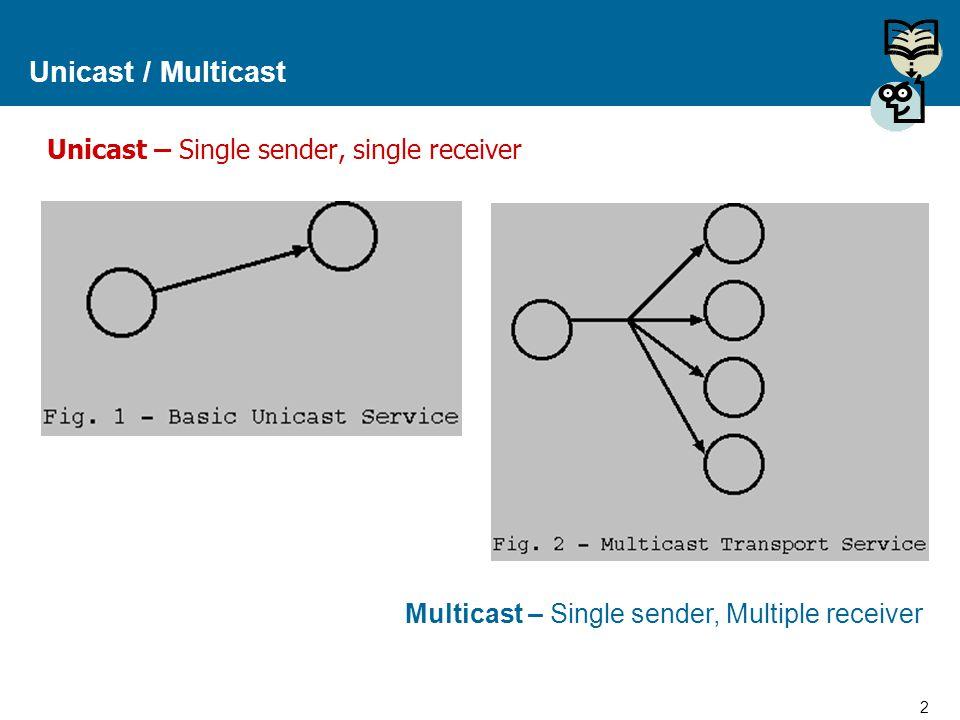 Unicast / Multicast Unicast – Single sender, single receiver