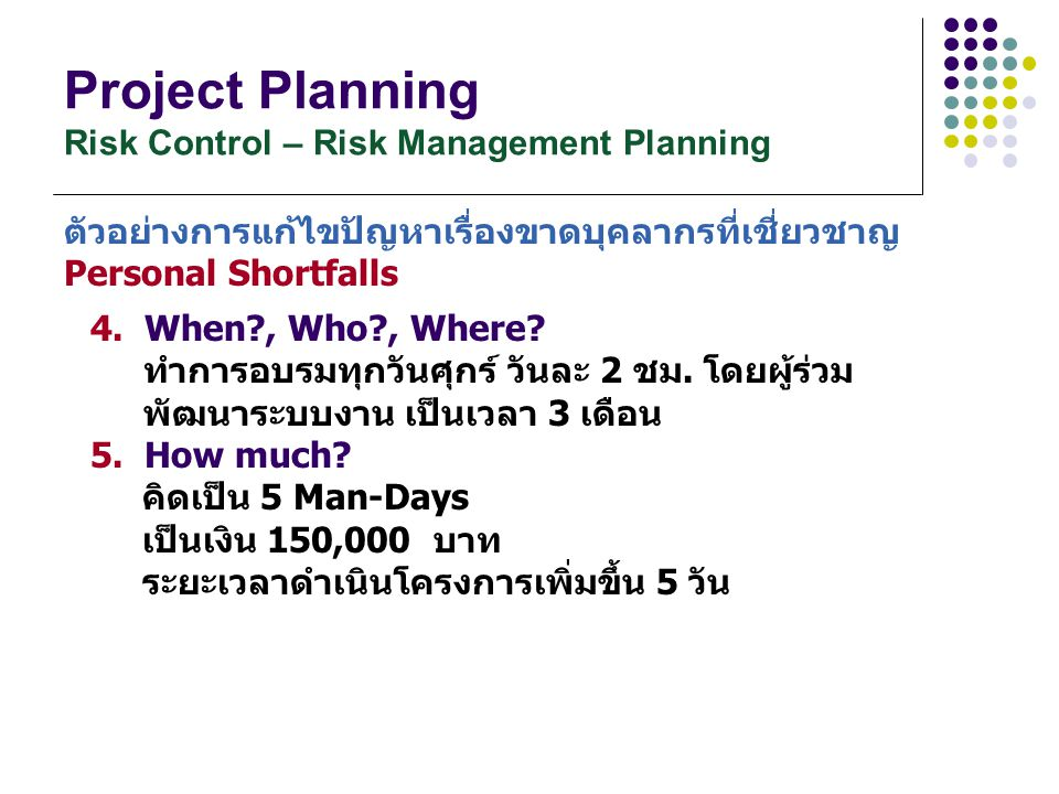 Project Planning Risk Control – Risk Management Planning