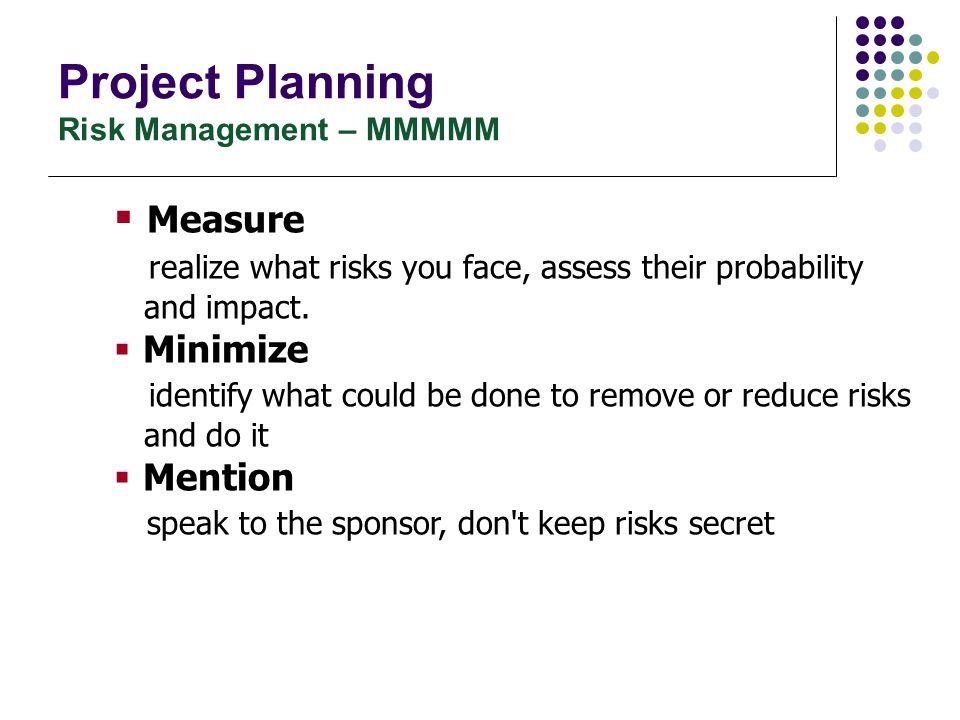 Project Planning Risk Management – MMMMM