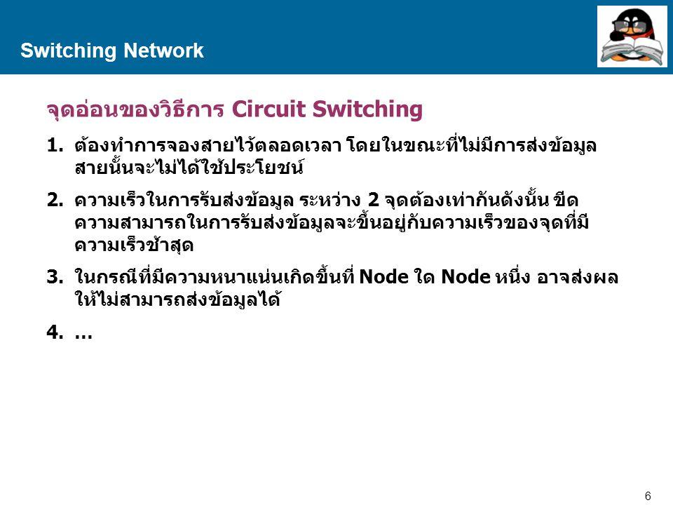 จุดอ่อนของวิธีการ Circuit Switching