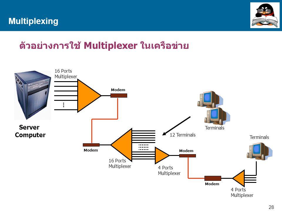 ตัวอย่างการใช้ Multiplexer ในเครือข่าย
