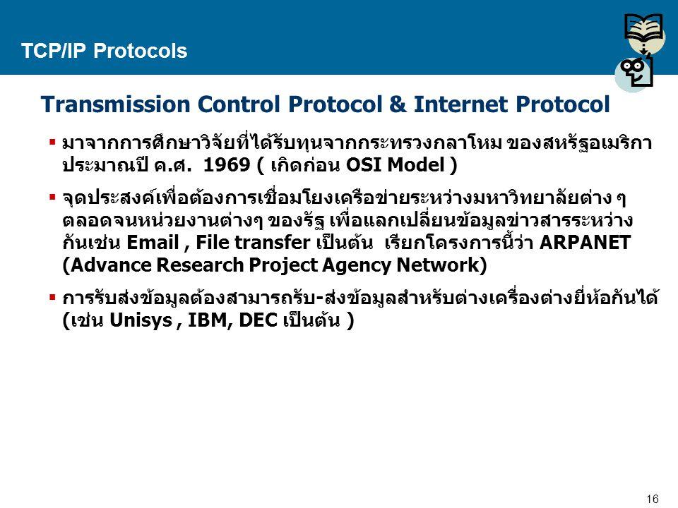 Transmission Control Protocol & Internet Protocol