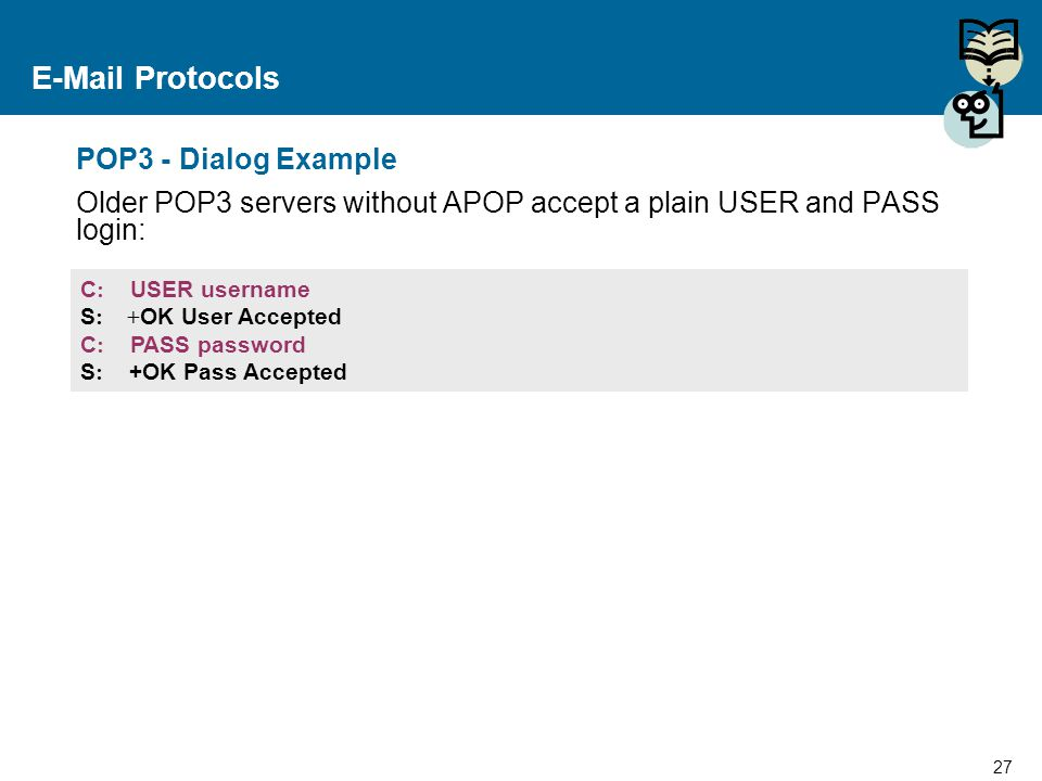 E-Mail Protocols POP3 - Dialog Example