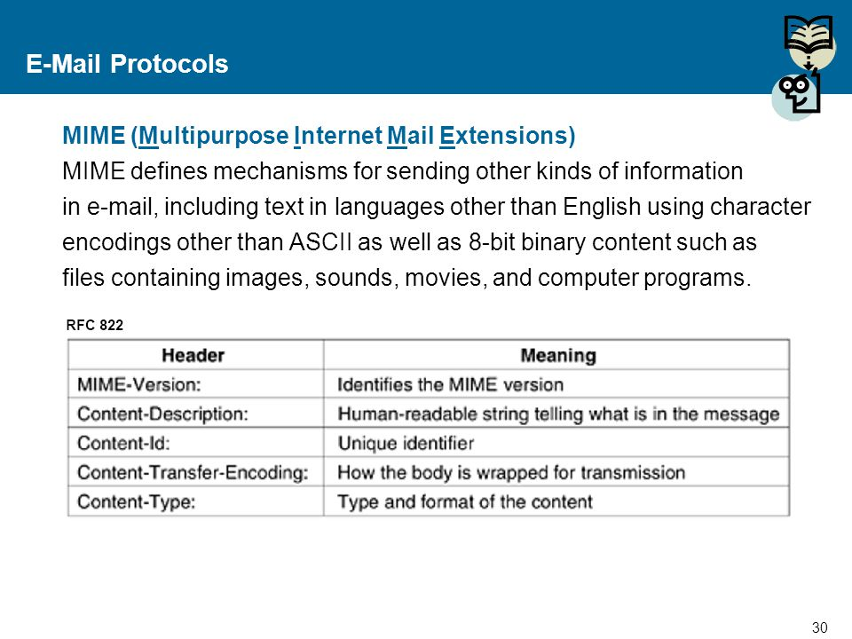 E-Mail Protocols MIME (Multipurpose Internet Mail Extensions)