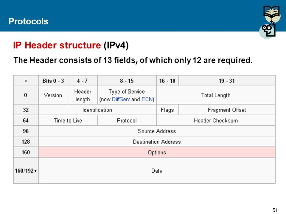IP Header structure (IPv4)