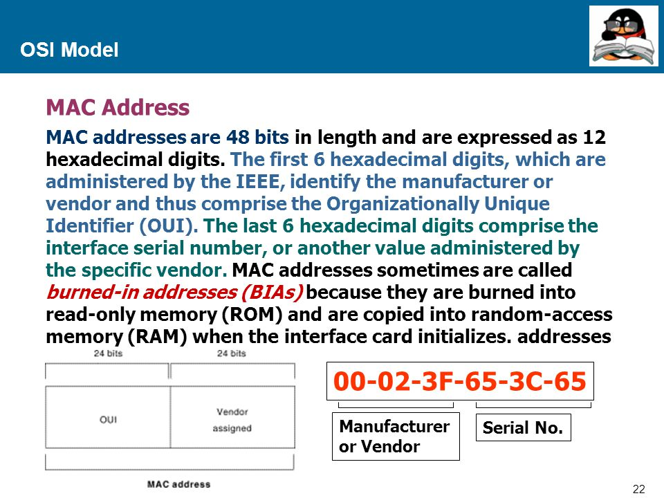 00-02-3F-65-3C-65 MAC Address OSI Model