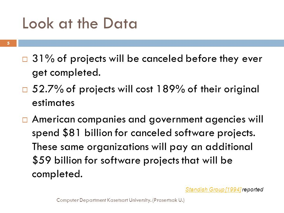 Look at the Data 31% of projects will be canceled before they ever get completed. 52.7% of projects will cost 189% of their original estimates.
