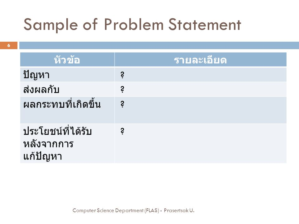 Sample of Problem Statement