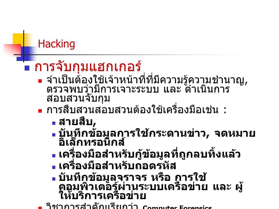 การจับกุมแฮกเกอร์ Hacking