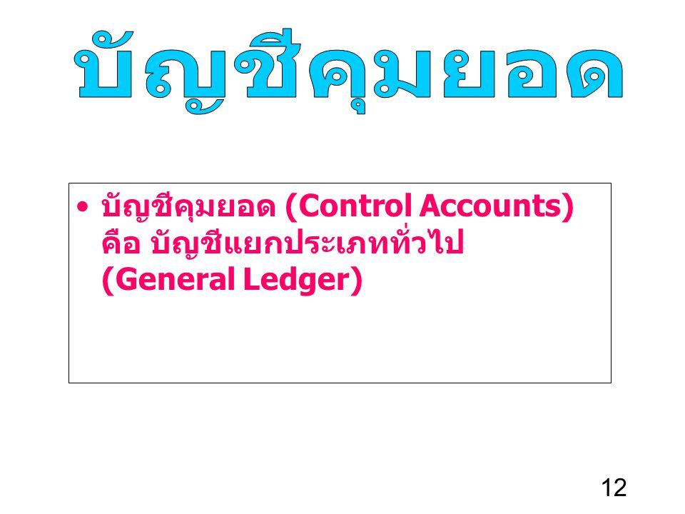 บัญชีคุมยอด บัญชีคุมยอด (Control Accounts) คือ บัญชีแยกประเภททั่วไป (General Ledger)