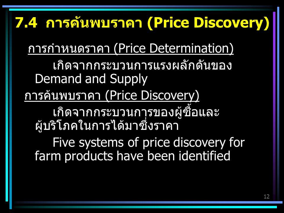7.4 การค้นพบราคา (Price Discovery)