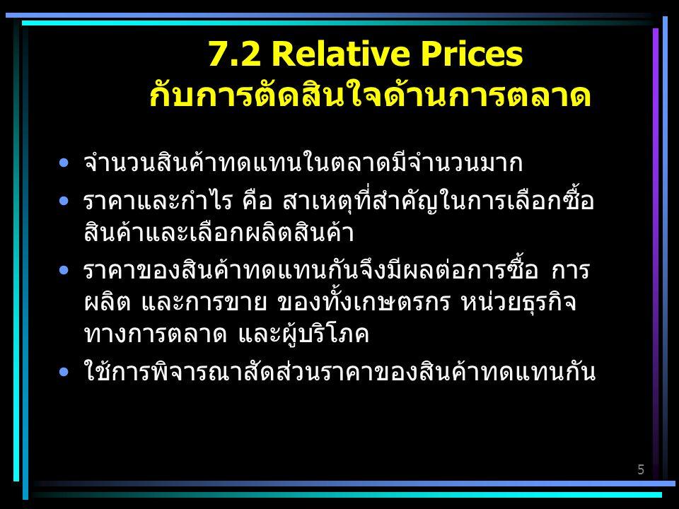7.2 Relative Prices กับการตัดสินใจด้านการตลาด