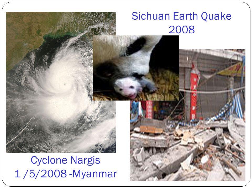 Sichuan Earth Quake 2008 Cyclone Nargis 1 /5/2008 -Myanmar
