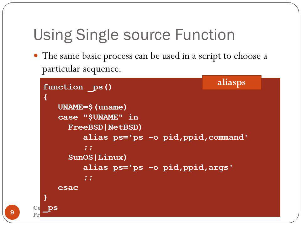 Using Single source Function