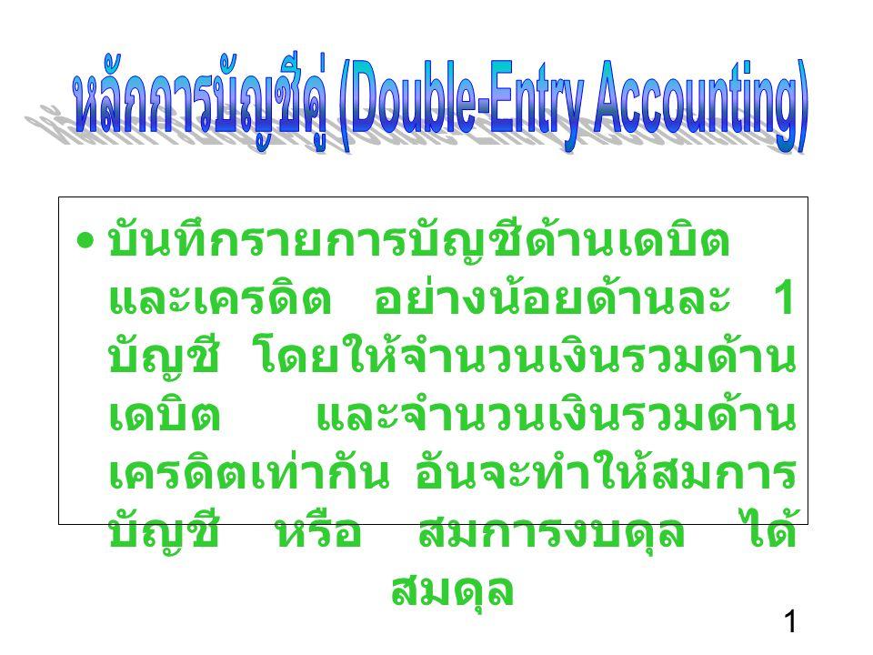 หลักการบัญชีคู่ (Double-Entry Accounting)
