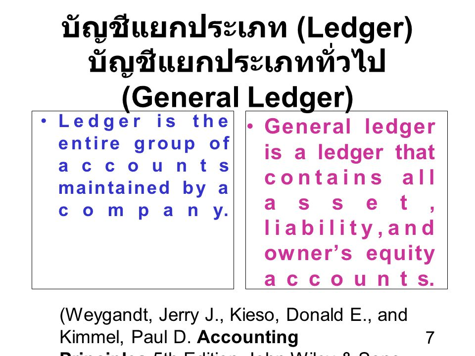 บัญชีแยกประเภท (Ledger) บัญชีแยกประเภททั่วไป (General Ledger)