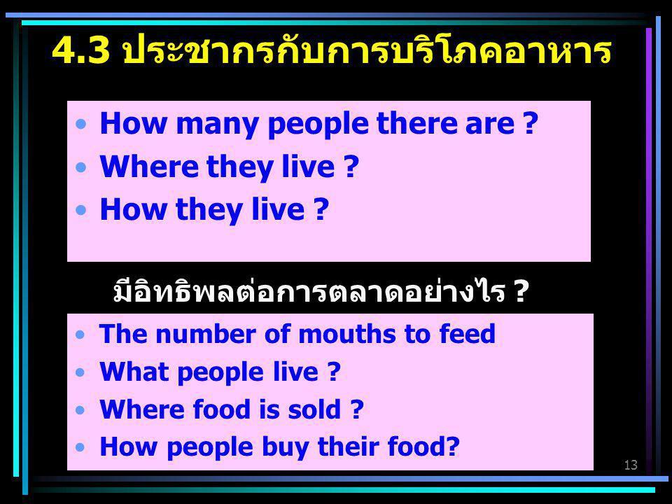 4.3 ประชากรกับการบริโภคอาหาร