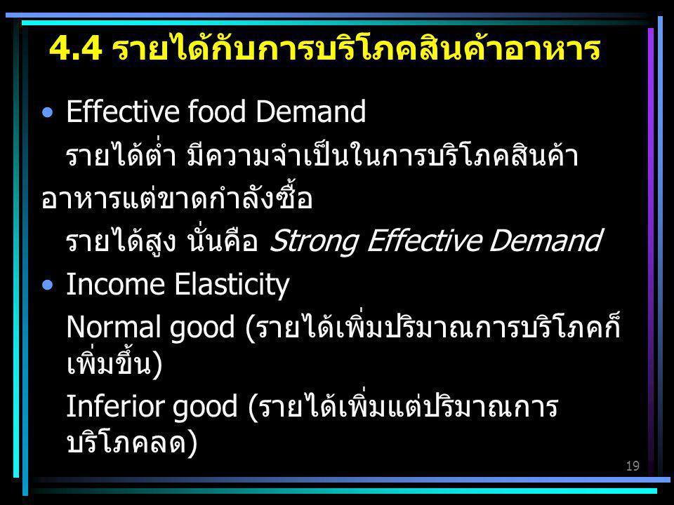 4.4 รายได้กับการบริโภคสินค้าอาหาร