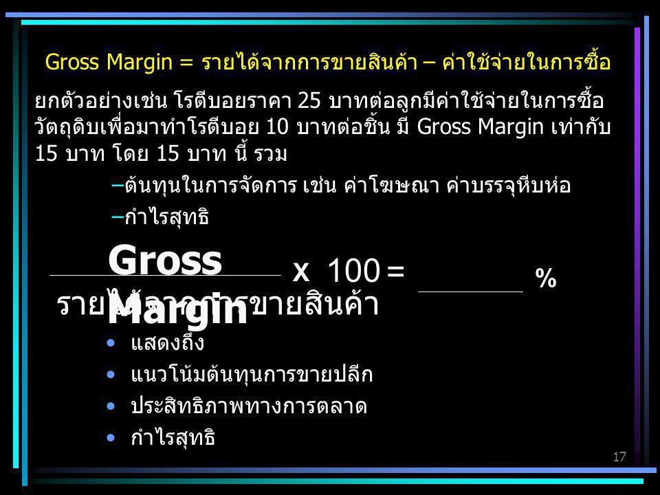 Gross Margin 100 = รายได้จากการขายสินค้า X %