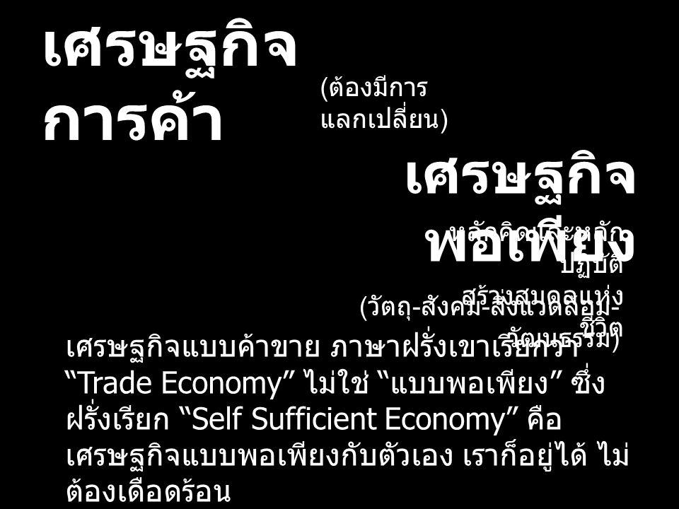 เศรษฐกิจการค้า เศรษฐกิจพอเพียง