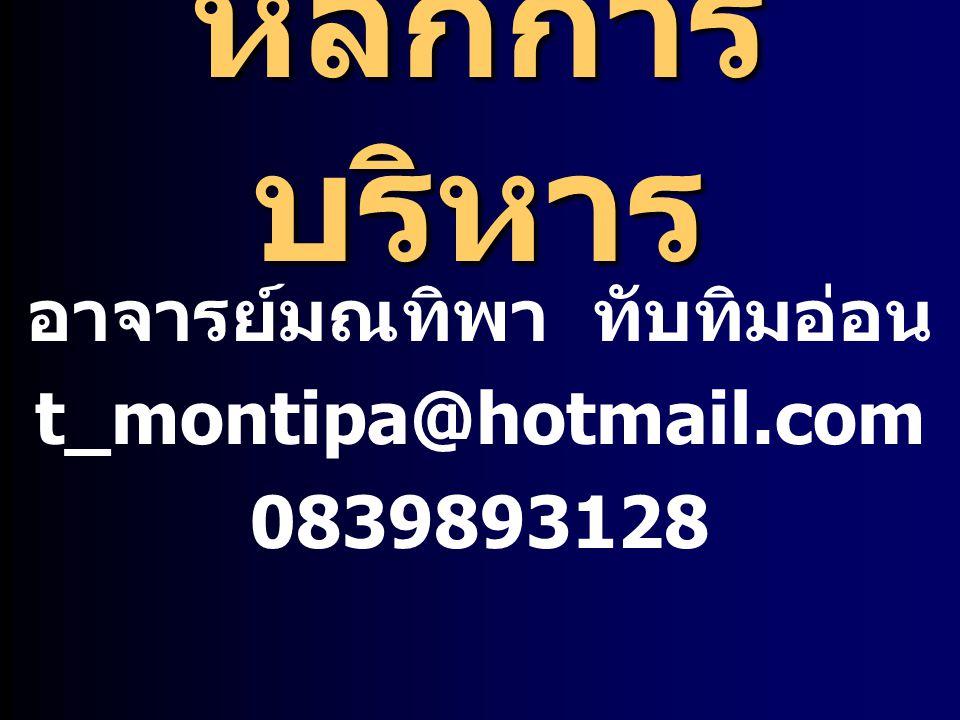 อาจารย์มณทิพา ทับทิมอ่อน t_montipa@hotmail.com 0839893128