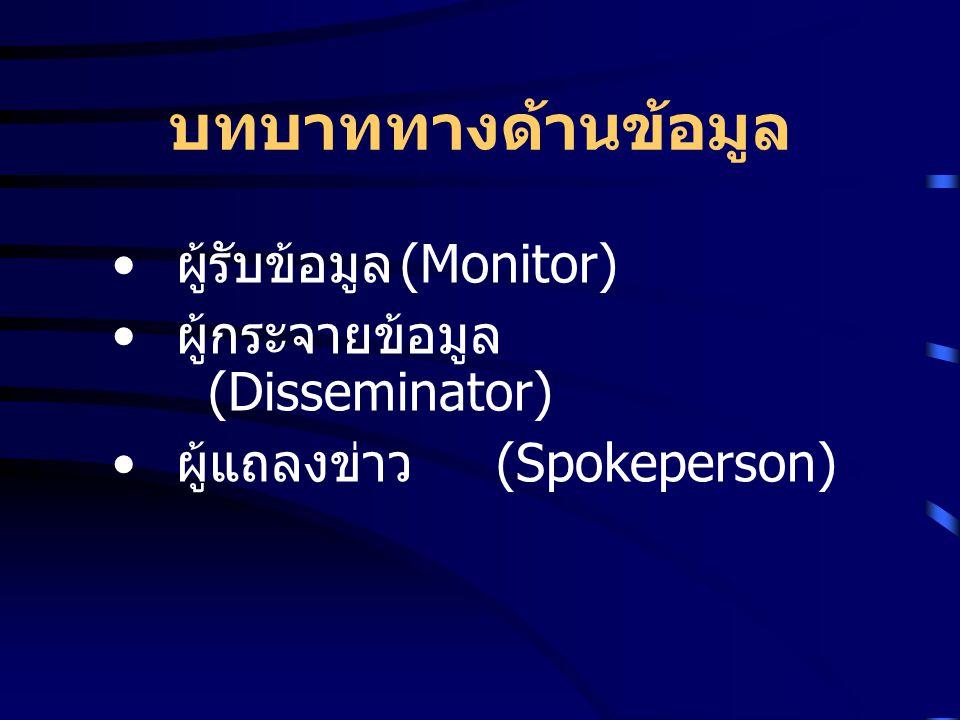 บทบาททางด้านข้อมูล ผู้รับข้อมูล (Monitor)