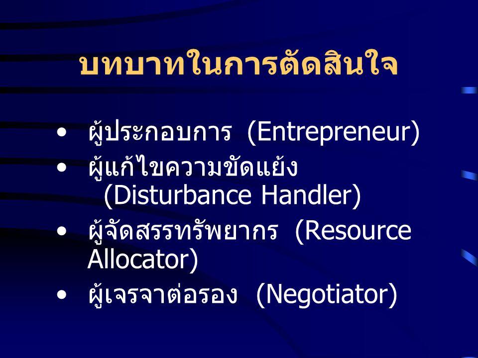 บทบาทในการตัดสินใจ ผู้ประกอบการ (Entrepreneur)