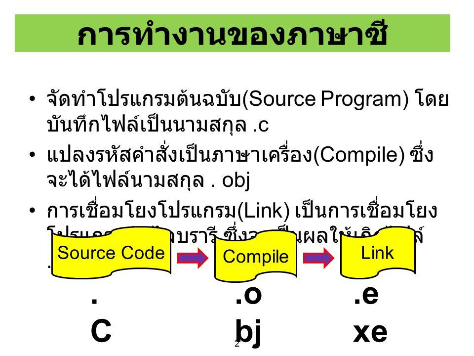การทำงานของภาษาซี .C .obj .exe