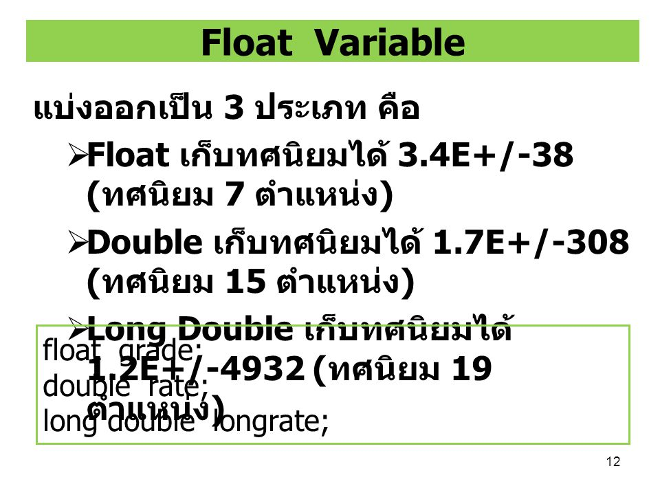 Float Variable แบ่งออกเป็น 3 ประเภท คือ