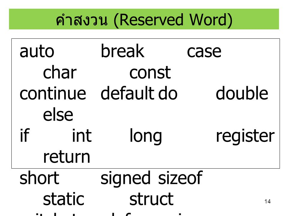 คำสงวน (Reserved Word)