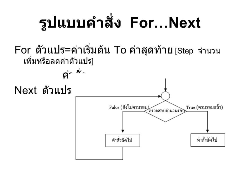 รูปแบบคำสั่ง For…Next
