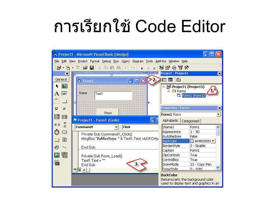 การเรียกใช้ Code Editor