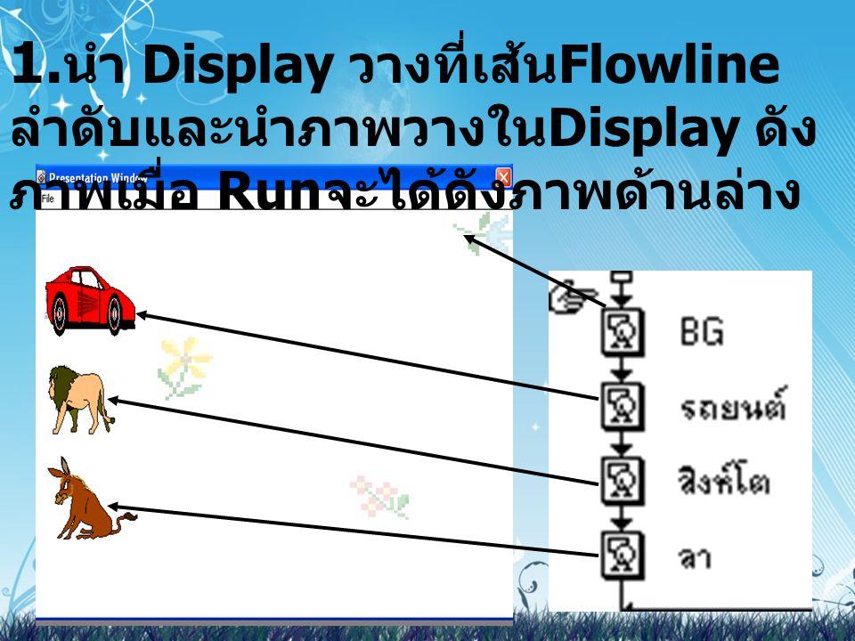 1.นำ Display วางที่เส้นFlowline ลำดับและนำภาพวางในDisplay ดังภาพเมื่อ Runจะได้ดังภาพด้านล่าง