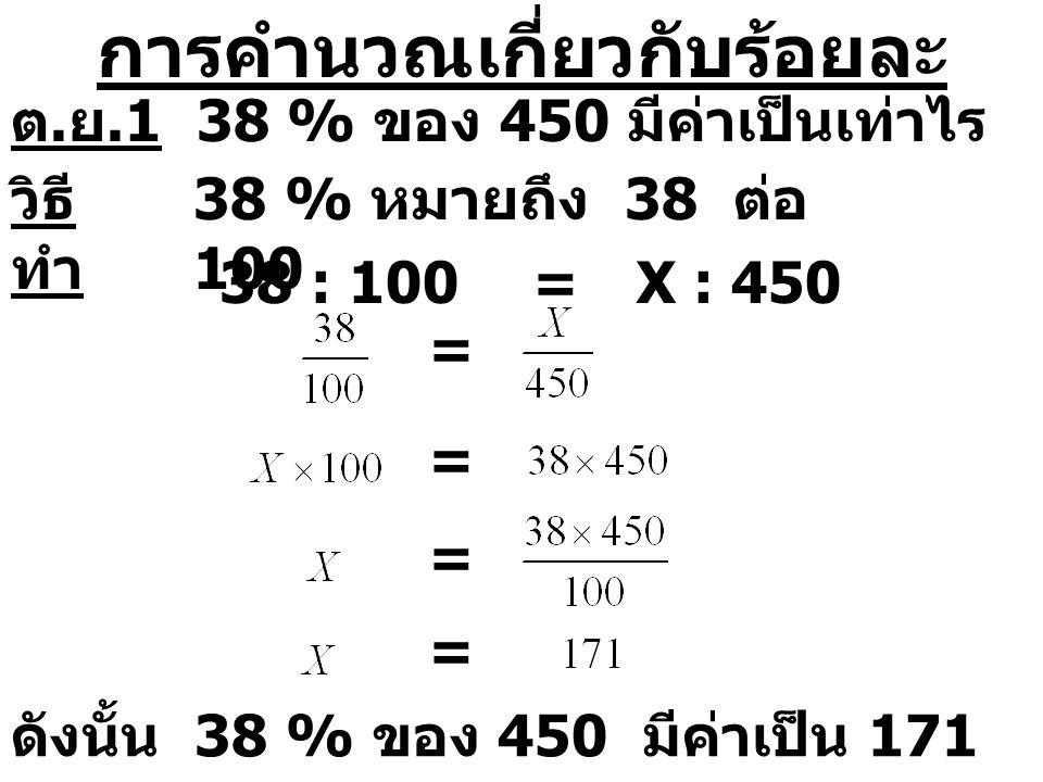 การคำนวณเกี่ยวกับร้อยละ