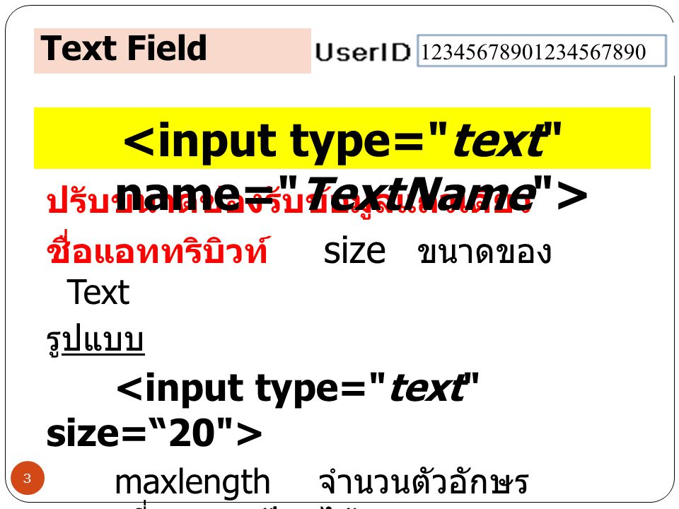 <input type= text name= TextName >
