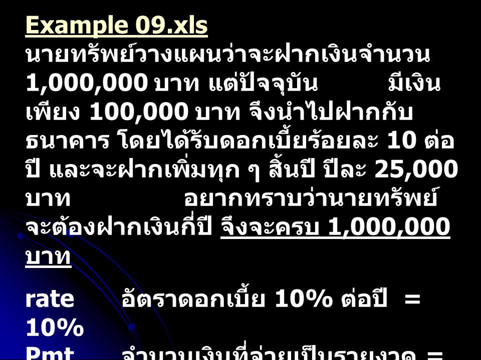 Example 09.xls นายทรัพย์วางแผนว่าจะฝากเงินจำนวน 1,000,000 บาท แต่ปัจจุบัน มีเงินเพียง 100,000 บาท จึงนำไปฝากกับธนาคาร โดยได้รับดอกเบี้ยร้อยละ 10 ต่อปี และจะฝากเพิ่มทุก ๆ สิ้นปี ปีละ 25,000 บาท อยากทราบว่านายทรัพย์จะต้องฝากเงินกี่ปี จึงจะครบ 1,000,000 บาท