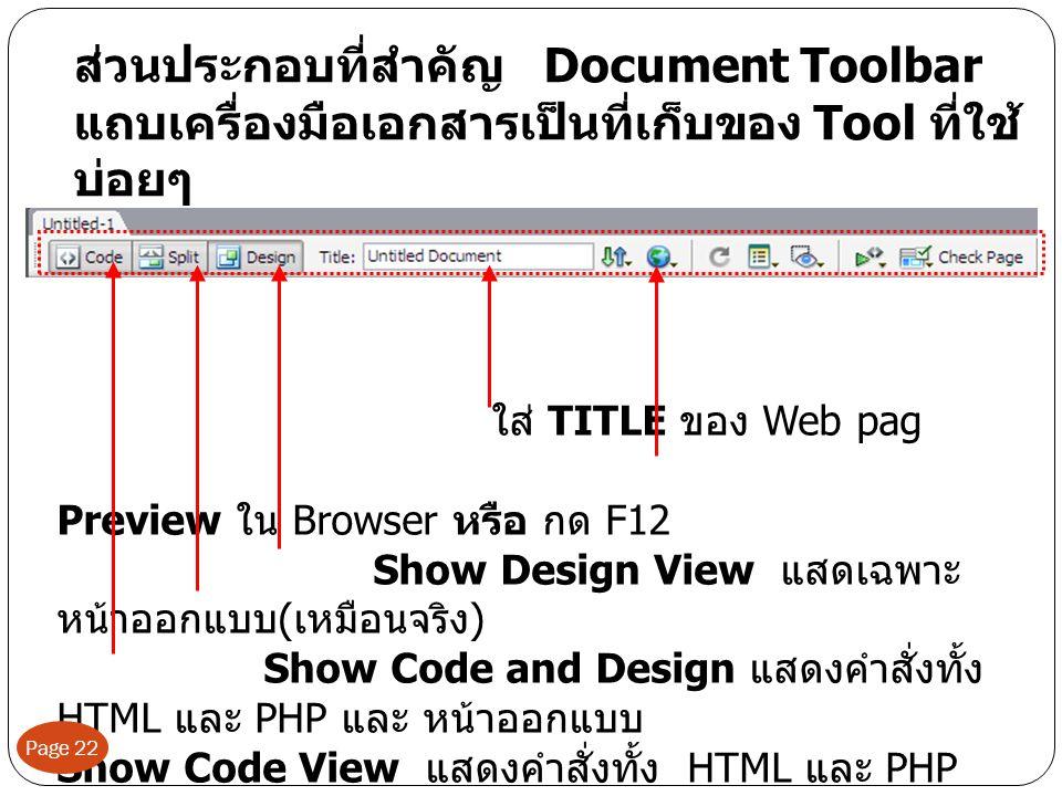 ส่วนประกอบที่สำคัญ Document Toolbar แถบเครื่องมือเอกสารเป็นที่เก็บของ Tool ที่ใช้บ่อยๆ
