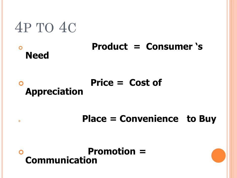 4p to 4c Price = Cost of Appreciation Promotion = Communication